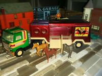 Buddy L Horse Trailer Semi Cab lot of 5 Green, red Tan.3 horses.farm set 1970's