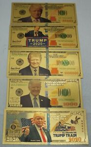 2020 Donald Trump USA Gold Note Set $100 $1000 Million MAGA 24k Plated Currency