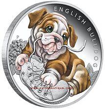 Puppies – English Bulldog 1/2 oz Silver Proof Half Dollar Coin Tuvalu 2018