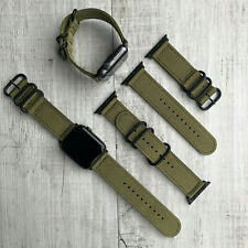 For Apple Watch Series 5 4 3 42mm 44mm Khaki Nylon Strap Band Black Buckles