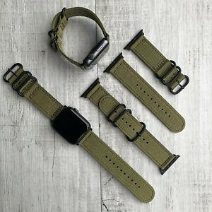 For Apple Watch Series 7 6 5 42mm 44mm 45mm Khaki Nylon Strap Band Black Buckles