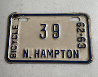 Vintage 1962 - 1963 Bike Bicycle License Plate Tag N North Hampton #39