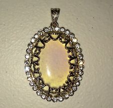 NEW Oval Sri Lanka Moonstone Gold Plated Clear CZ Cubic Zirconia Crystal Pendant