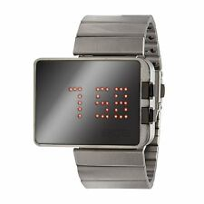 "EOS New York ""LED Mirror"" Cuarzo Acero Inox Digital Negro Unisex Reloj"