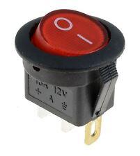 Rojo Iluminado interruptor redondo LED coche DASH Automotriz 12v SPST