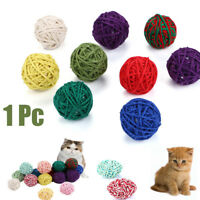 1Pc New Pet Cats Kitten Feather Sisal Ball Colorful Mouse Scratching Chew Toys