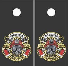 Fire Fighter1.Cornhole Board Game Decal Wraps USA High Quality Image!! LAMINATED