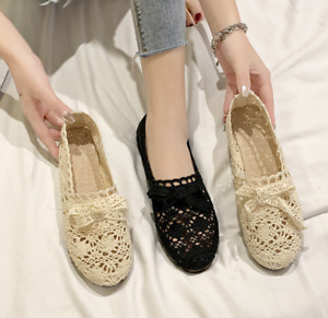 Womens Breathable Round Toe Bowknot Flats Hollow Out Mesh Casual Loafers Shoe Sz