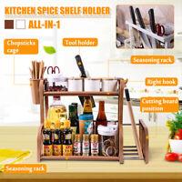 2 Tier Jars Spice Pot Stand Kitchen Shelf Holder Chopping Rack Storage Organizer