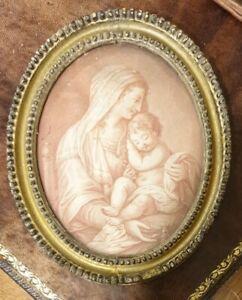 18th.Century Georgian Oval Frame Stipple Engraving Bartolozzi Motherhood 1800s