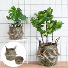 New Natural Seagrass Belly Basket Storage Holder Plant Pot Bag Home Decoration