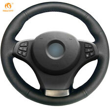 Black Authentic Leather Steering Wheel Cover Wrap for BMW E83 X3  E53 X5 #BM65