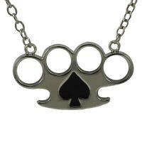 Heart Knuckle dog tag pendant necklace rock rebel mens silver chrome spade black
