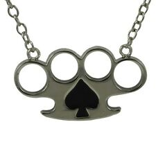 Heart Knuckle dog tag pendant necklace rock rebel mens silver chrome spade black