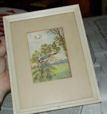 Vintage Ar Stutz Blue Bird Pine Tree Butterflies Signed Framed Art Print