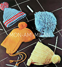 KNITTING PATTERN To Make CHILDRENS HATS Bobble Caps, Trapper Hat, Loopy Bonnet
