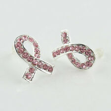 Hot Pink Czech Crystal Ribbon Breast Cancer Awareness Silver Ear Studs Earrings