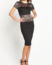 BNWT Ladies Black Lace Panel Midi Dress CLUB L - sz 14