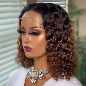 8A 150 Density Unprocessed Brazillian Ombre Brown Curly Closure Human Hair Wig