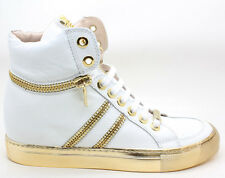 Sebastian Milano Womens S6300 White Calf Gold Metal Zipper Sneaker 40 EU