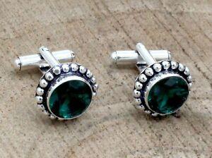 "Handmade 925 Sterling Silver Chrome Diopside Gemstone Jewelry Cuff Links S-1"""