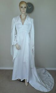 VINTAGE 70S ETHEREAL WHITE GOTHIC MEDIEVAL PAGAN HANDMADE WEDDING DRESS 14