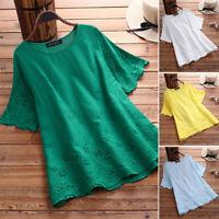 ZANZEA Women Solid Loose Tops Tee Lace Crochet Patchwork T-Shirt Blouse Shirt US