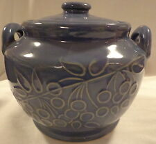 BEAN POT COOKIE JAR OLD GLAZED POTTERY STONEWARE YELLOWARE CERAMIC BLUE BERRIES