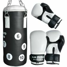 Kids Boxing Punch Bag Set Junior Filled Heavy With Gloves & Chain MMA Training