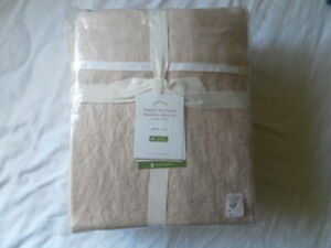 NEW AUTH POTTERY BARN BELGIAN FLAX LINEN QUEEN DUOTONE SHEET SET ROSE PINK/WHITE