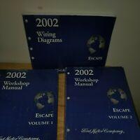 2002 FORD ESCAPE SERVICE SHOP REPAIR MANUAL & WIRING DIAGRAMS SET ALL THREE !!!!