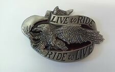 """To Live Metal Belt Buckle With Eagle 3.75"""" X 2.5"""" Live To Ride- Ride"""