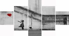 Large 5 Panel Set Red Banksy Balloon Girl Hope Canvas Picture Wall Art Prints