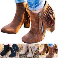 Damen Cowboy Ankle Boots Western Blockabsatz Quaste Stiefeletten Cowboystiefel