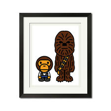 A Bathing Ape x Star Wars Chewbacca Baby Milo Han Solo Bape Poster Print