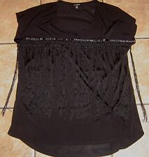 Womens CONCEPTS~BLACK FRINGE BLOUSE~size LARGE~NEW~Dress Top Stretch Shirt~NWOT
