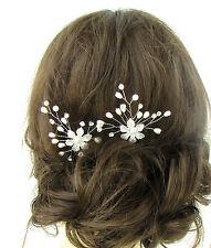 2 White Silver Flower Pearl Hair Pins Vine Bridal Wedding Diamante Headpiece 486