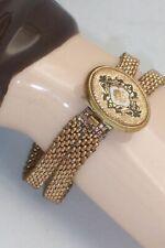 Victorian Taille De Epargne Photo Picture Locket Mesh Chain Bracelet