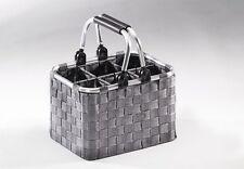 Flaschenträger für 6 Flaschen aus Metallrahmen mit Nylongeflecht in grau
