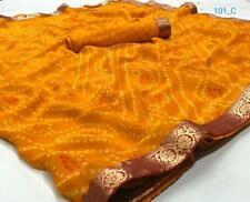 Yellow Ethnic Bandhani Saree Sari Chiffon Wedding Wear Lace Work Printed Sari SS