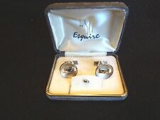 VINTAGE ESQ ESQUIRE CUFF LINKS & TIE TACK SILVER ETCHED ~ NEW In VELVET BOX SET