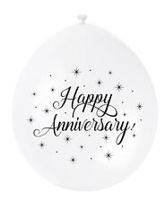 White Happy Anniversary Air Fill Latex Balloons Decorations 10pk