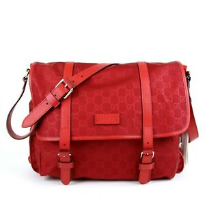 New Gucci Unisex Red GG Guccissima Medium Large Nylon Messenger Bag 510334 6523