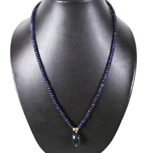 143 Ct+ Natural Sapphire Single Strand Beaded Necklace W Huge Briolette Hanging