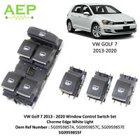 Window Control Switch Set For VW Golf 7 2013 - 2020 Chrome Edge White Light