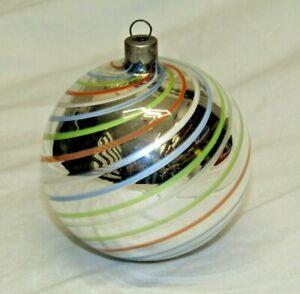Antique Bimini Striped Art Deco Faden Glass Swirl Christmas Ornament 1930's