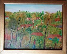 "Vintage Haitian Folk Art Naif BIJOUX Painting Joseph Dubic Haiti Village 8""x10"""