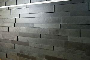 3 D Schiefer Verblender, Wandverblender, Riemchen, Bricks, Naturstein , schwarz