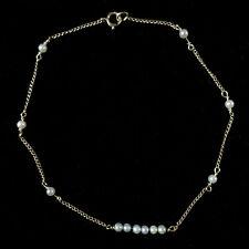 Curb Chain Anklet Bracelet 10'' 1.3g Vtg14K Solid Gold 2mm Pearl Beads Delicate
