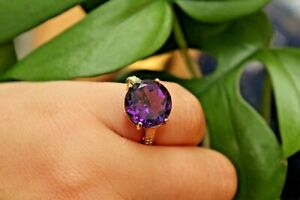 9ct yellow gold amethyst solitaire ring with diamond shoulders K 3.5g